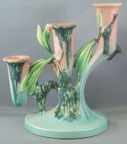 698: Roseville Pottery Moss Candle Holder