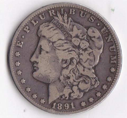 10: 1891CC Silver Morgan Dollar
