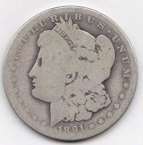 11: 1891O Silver Morgan Dollar
