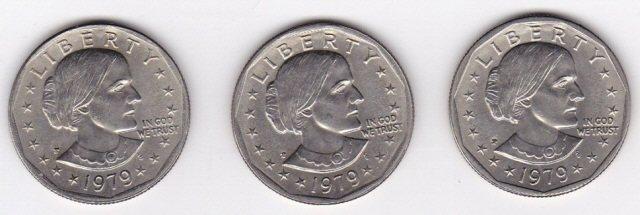 22: 3 - 1979P Susan B Anthony Dollars