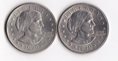 24: 1979D & 1979S Susan B Anthony Dollar Coins