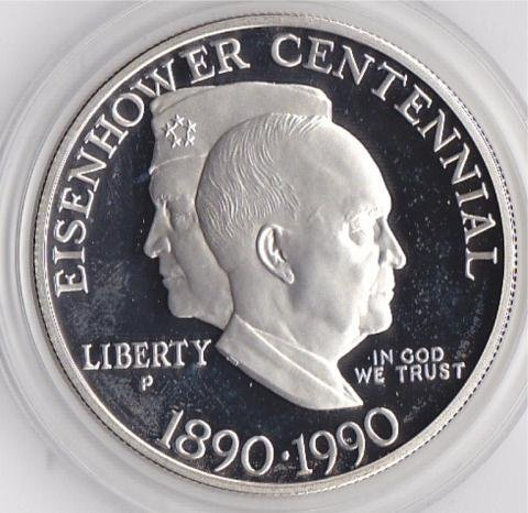 24A: 1990 Silver Eisenhower Commemorative Dollar
