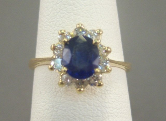 6: 14kt Gold Blue Sapphire and Diamond Ladies Ring