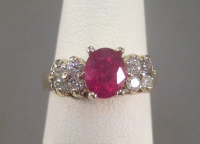 7: 14Kt Gold Ruby and Diamond Ladies Ring