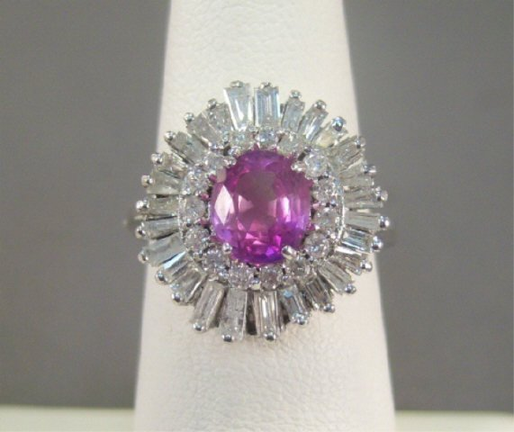 8: 14Kt Gold Pink Sapphire and Diamond Ladies Ring