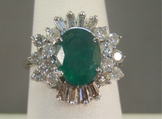 10: 14KT Gold Emerald and Diamond Ladies Ring