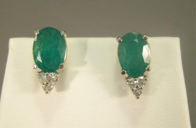 12: 14Kt Gold, Emerald, and Diamond Ladies Earrings