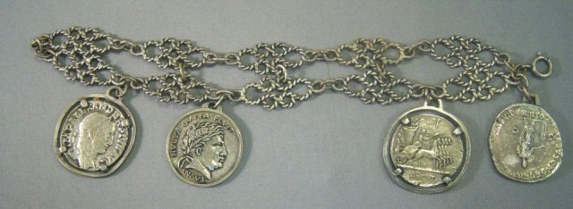 23: Sterling Silver Coin Bracelet from France