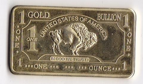 9: Gold Plated Bar 1 Ounce Total Weight 500mills gold