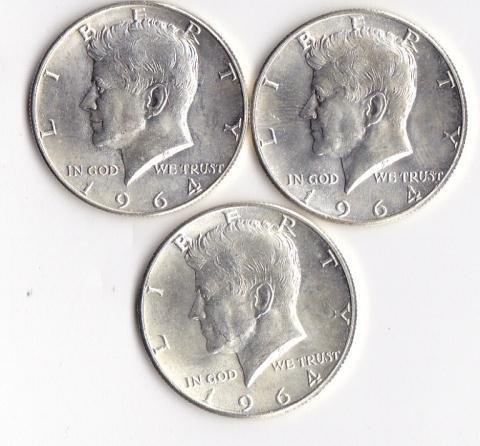 14: 3 - 1964 Kennedy Half Dollars
