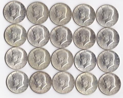 15: 20 - 40% Silver Kennedy Half Dollars