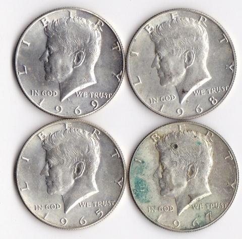 16: 4 - 40% Silver Kennedy Half Dollars