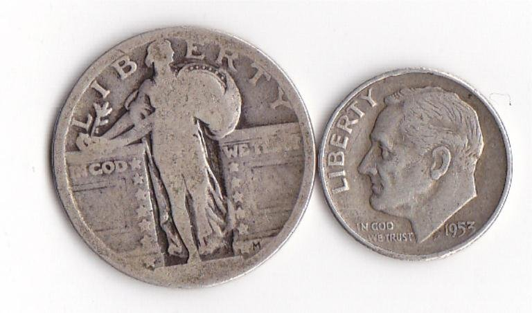 18: Silver Standing Liberty Quarter and Roosevelt Dime