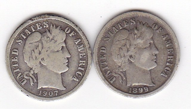 18B: 1899 and 1907 Silver Barber Dimes