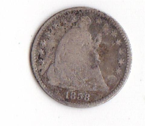 19: 1858 Seated Liberty Half Dime