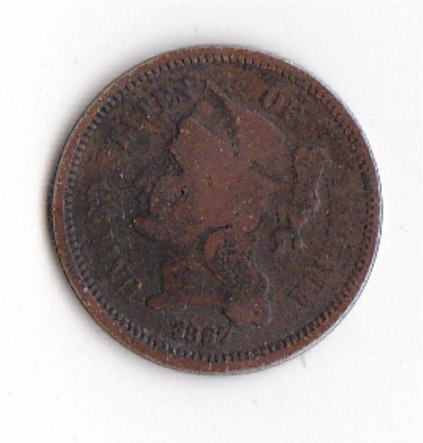 22: 1867 Cooper-Nickel 3 Cent Coin