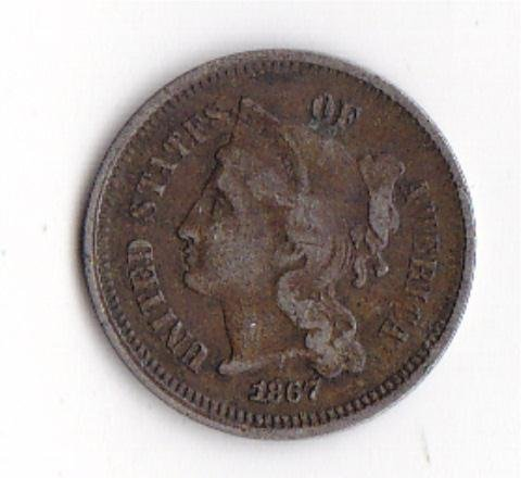 23: 1867 Cooper-Nickel 3 Cent Coin