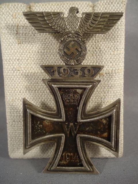 9: German WW I 1st Class Iron Cross W/ 1st Serv Clasp