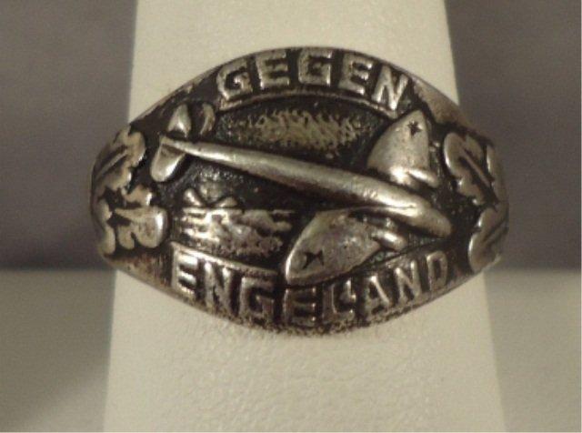 112: German WWII Luftwaffe Gegen England Officers Ring