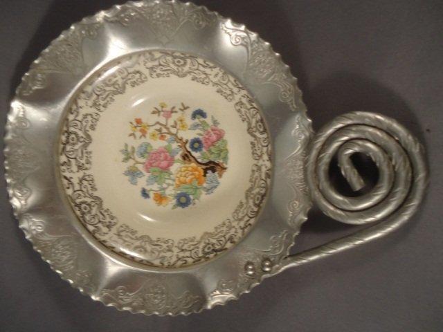 450: Vintage Hammered Alum Bowl With Porcelain Bowl