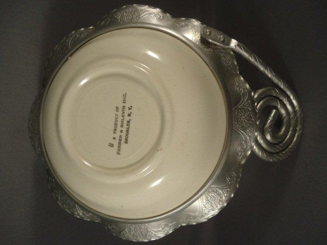 450: Vintage Hammered Alum Bowl With Porcelain Bowl - 4
