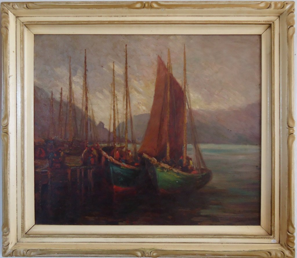 E.S. Green Elliot Oil on Canvas Boats Painting