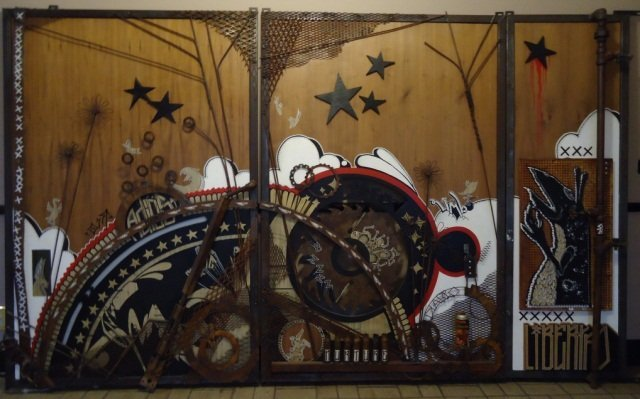 3 Panel Multimedia Graffiti Wall Hanging Sculpture