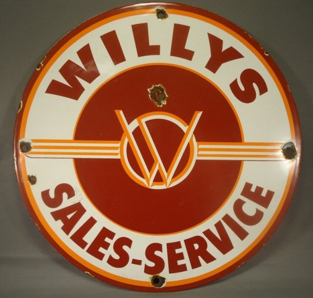 Antique Willys Jeep Porcelain Advertising Sign