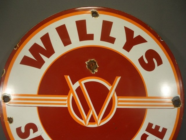 Antique Willys Jeep Porcelain Advertising Sign - 2
