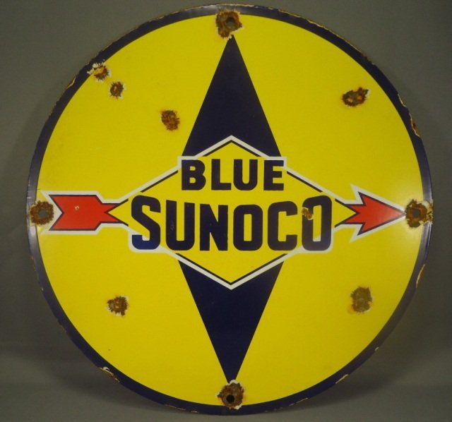 Antique Blue Sunoco Porcelain Gas Pump Ad Sign