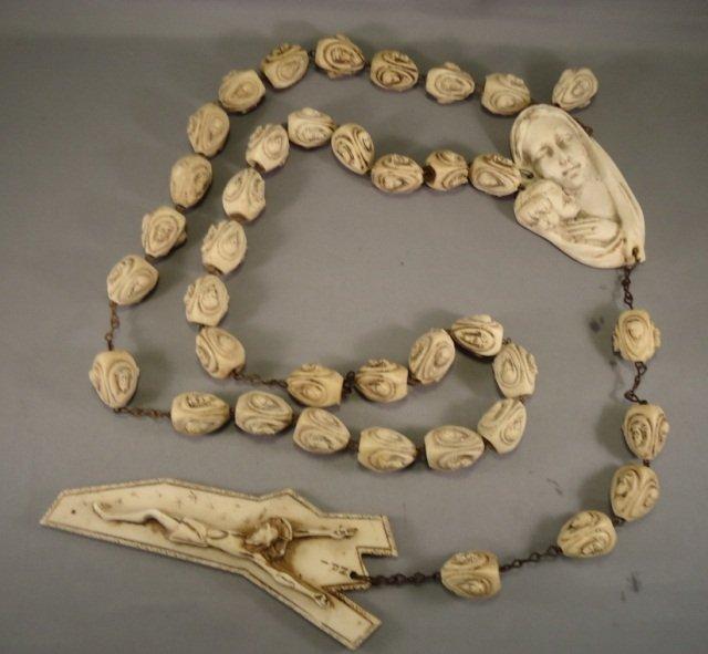 Vintage Hand Carved Bone Rosary