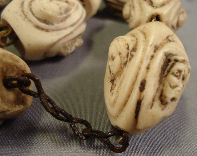 Vintage Hand Carved Bone Rosary - 4