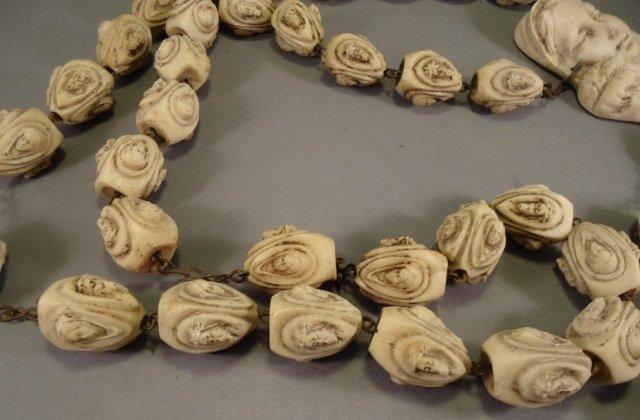 Vintage Hand Carved Bone Rosary - 8