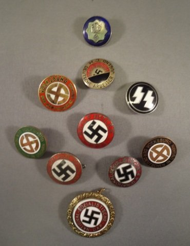 10-German WWII Enameled Political Party Badges
