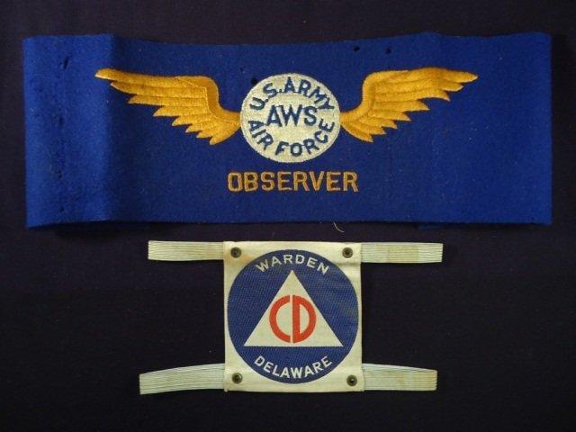 2 US WWII Arm Bands Civil Defense & USAAF Observer