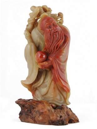 001: Shoushan Soapstone Figure of Shoulao, Chinese God