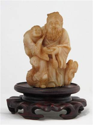 006: Chinese Shoushan Soapstone Statue of an Elder and