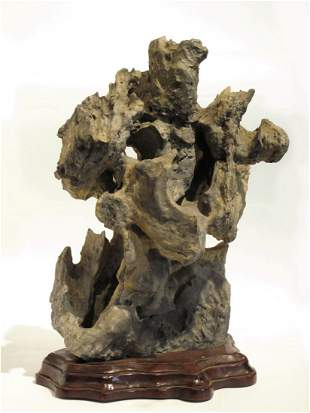 011: A Chinese Taihu Scholar's Rock on a Wood Stand