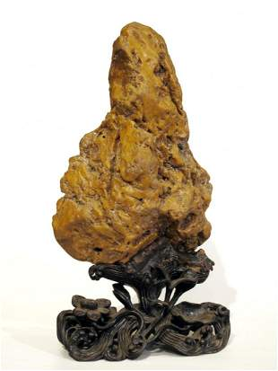 014: Chinese Yellow Wax Stone Scholar's Rock with Stand
