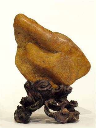 015: Chinese Yellow Wax Stone Scholar's Rock with Stand