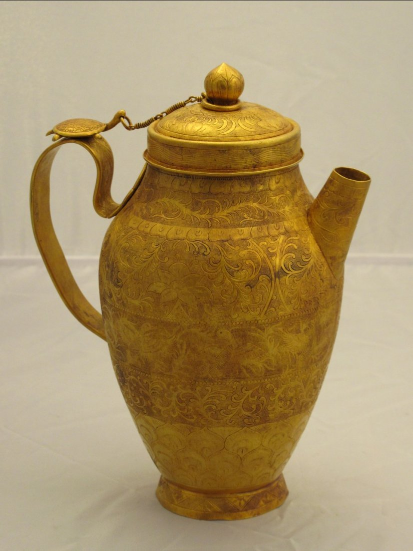 017: A Chinese Engraved Brass Pitcher of Tang Style