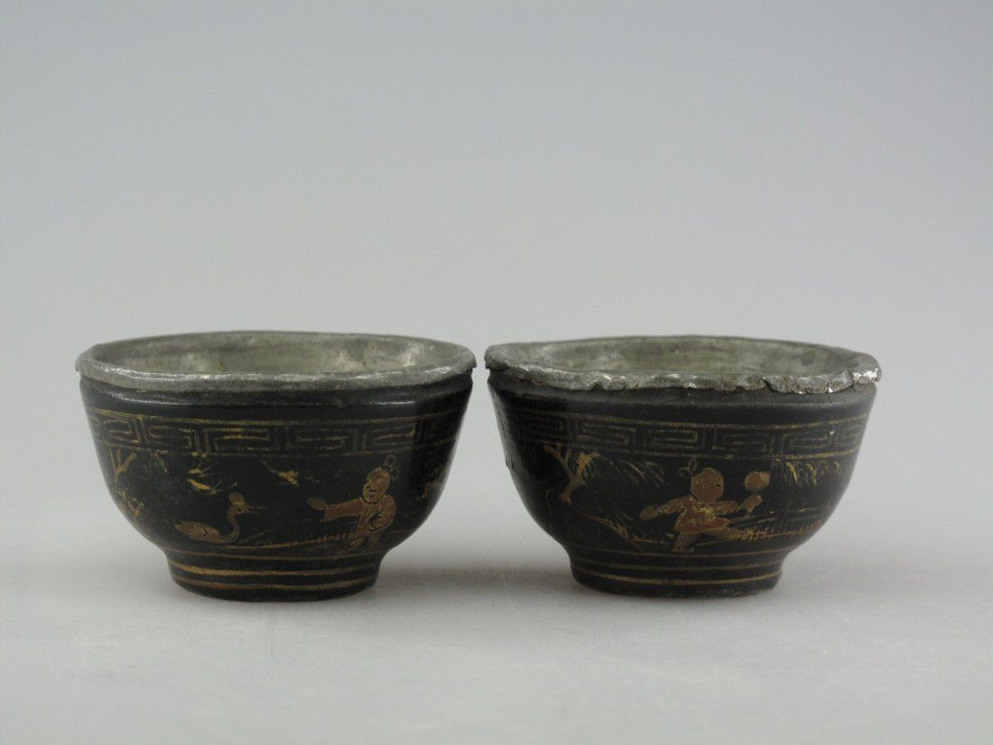 020: A Pair of Chinese Silver-Lined Lacquer Cups, Yuan