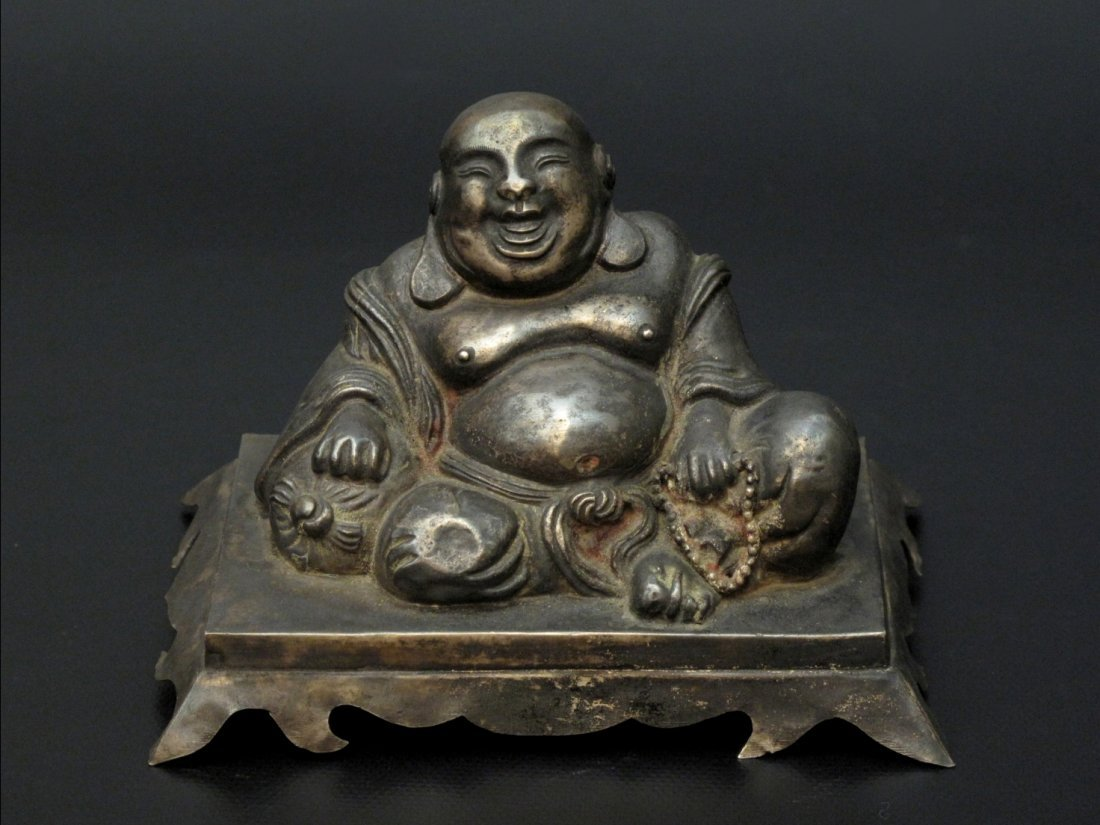 021: A Chinese Silver Figure of Maitreya, Future Buddha