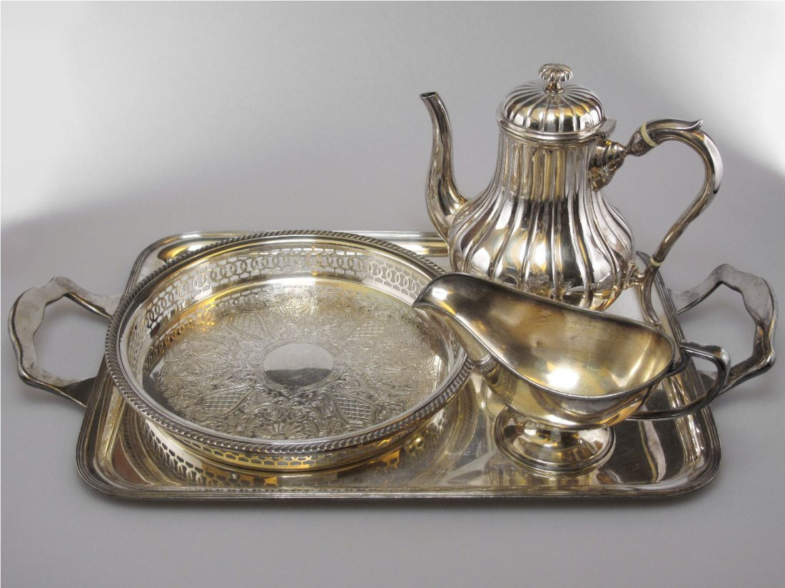 022: Four Silver Plate Table Items, 19th Century