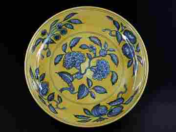 182: A Chinese Yellow-Ground Blue and White Dish