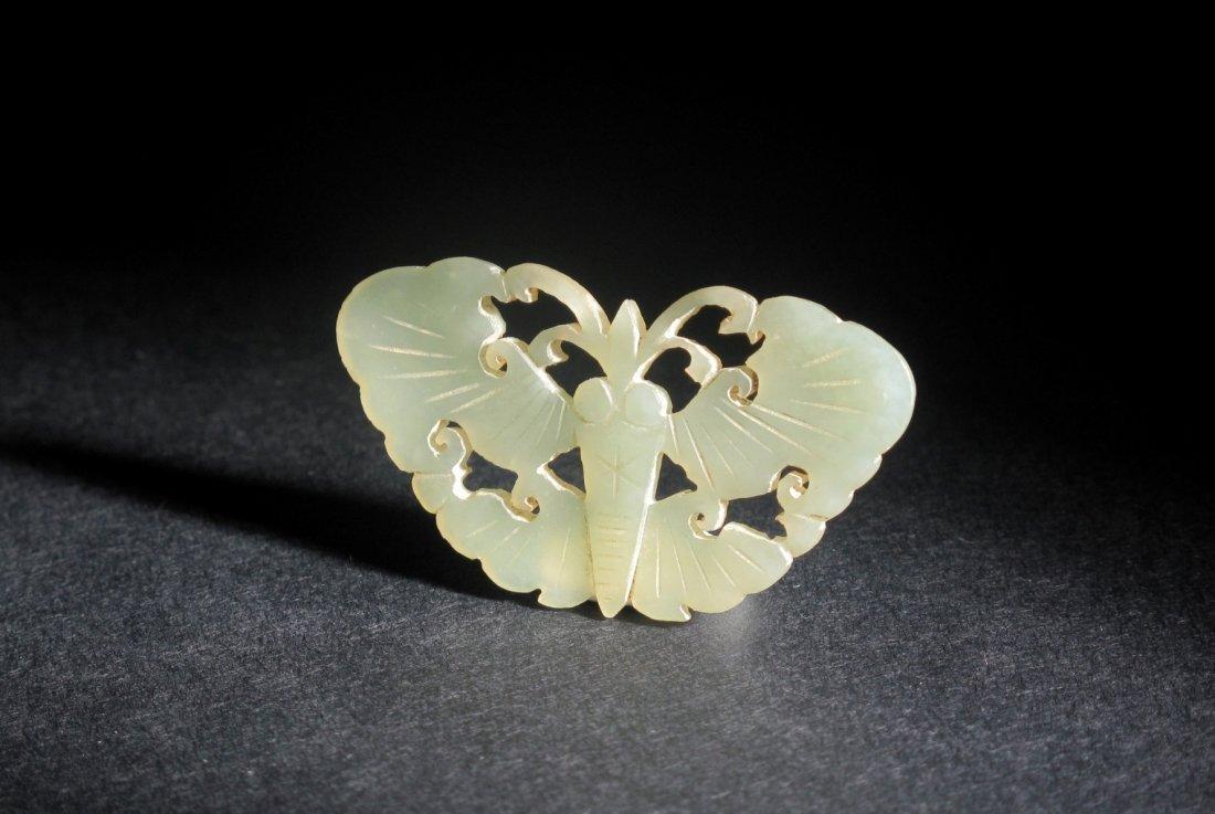2: A Celadon Jade Butterfly Pendant, Ming Dynasty