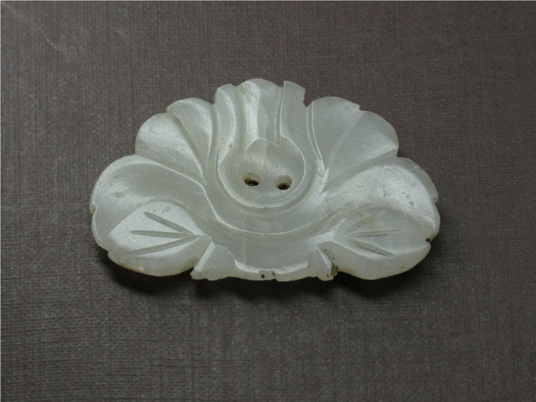 14: A Chinese Carved Jade Flower Pendant, Ming Dynasty