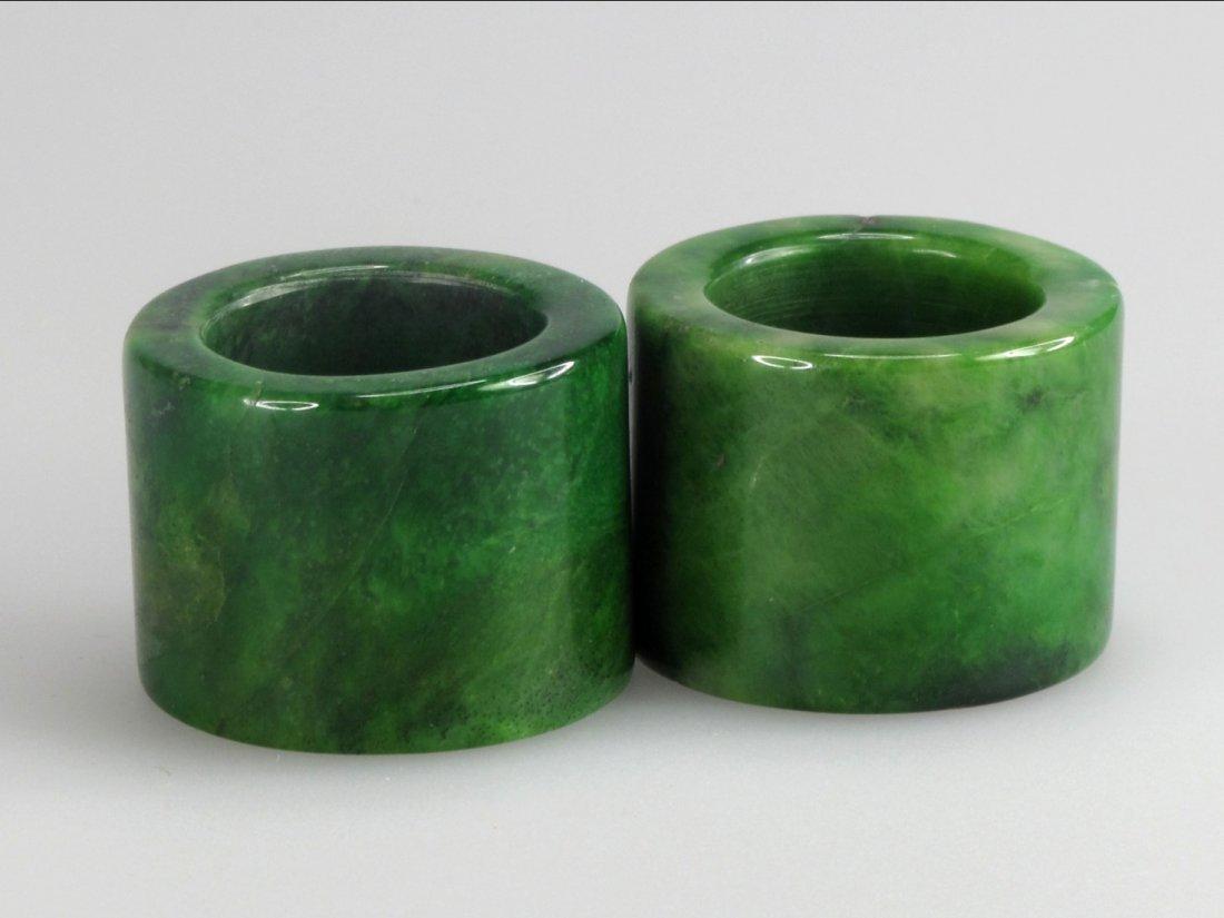 21: Two Chinese Jade Thumb Rings