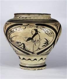 147: A Large Chinese Painted Cizhou Jar, Yuan Dynasty