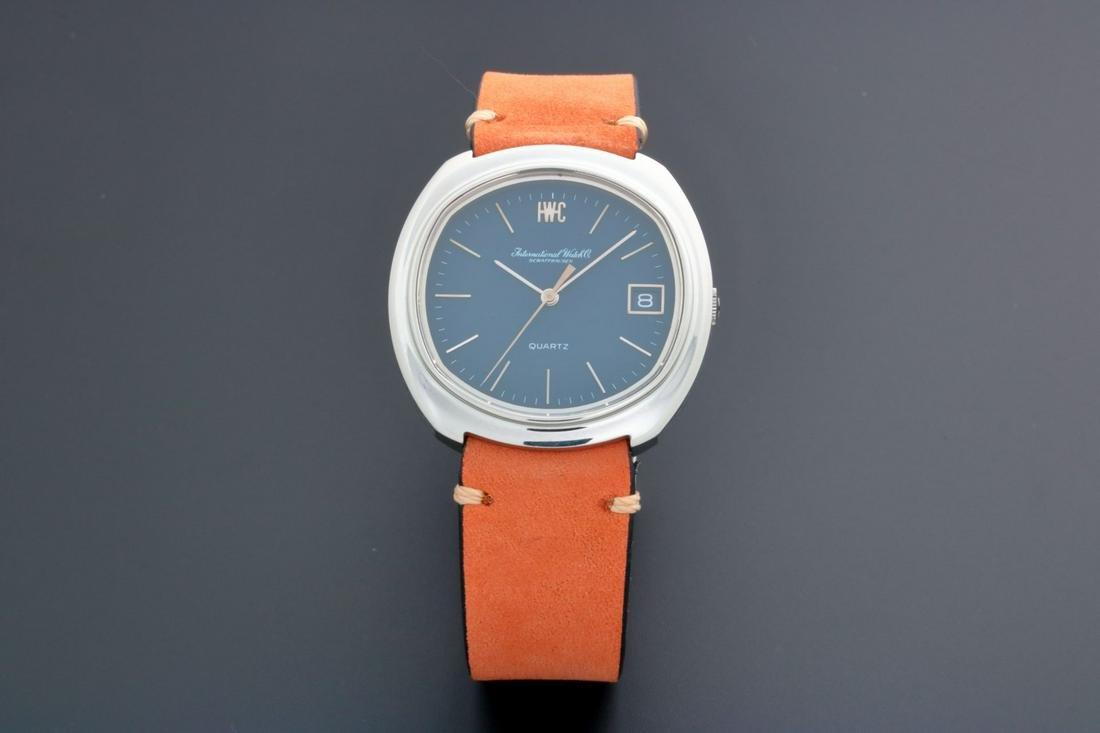 Vintage IWC Quartz Date Watch Rare Blue Dial